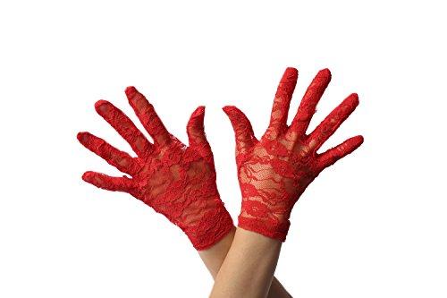 DRESS ME UP RH-007-red Handschuhe Spitze Spitzenhandschuhe Kurz Damen Rot Gothic Goth Teufelin Viktorianisch