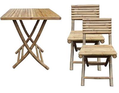 Bambus Garten Balkon Möbel Set 1x Klapptisch 2x Klappstuhl