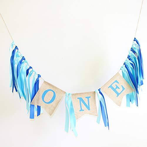 Baby 1. Geburtstag Banner, personalisierte erste einjährige Band & Sackleinen hängende Girlande Hochstuhl Flagge DIY Happy Birthday Party Banner für junge Mädchen Geburtstag Partydekorationen(Blau)