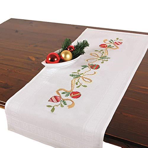 Stickpackung WEIHNACHTSKUGELN, komplettes vorgezeichnetes Kreuzstich Tischdecken Set, Winter Tischläufer Stickset mit Stickvorlage für Erwachsene, Sticken zur Adventszeit und Weihnachten