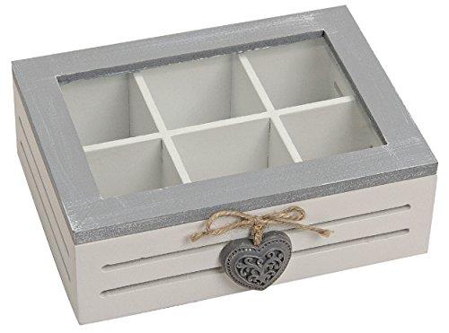 henger-mauk Holzbox mit Glasdeckel, Schleife/Herz, Holzkiste, Teebox, Dekobox, Aufbewahrungsbox Holz Weiß/Grau Herz