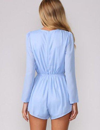 GSP-Combinaisons Aux femmes Manches Longues Travail / Décontracté Polyester Moyen Non Elastique blue-l