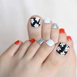 EchiQ - Pegatina para uñas de los pies, diseño de margaritas, color blanco y negro, con purpurina plateada