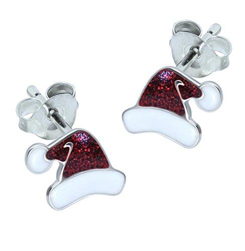 Sterlingsilber-Weihnachten-Ohrringe,Weihnachtsmann-Hut