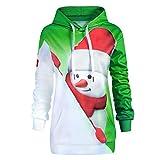Tianwlio Damen Winter Langarmshirt Hoodie Pullover Mode Hoodie Weihnachten Känguru Tasche Cartoon Schneemann Drucken Sweatshirt Pullover Grün XXL