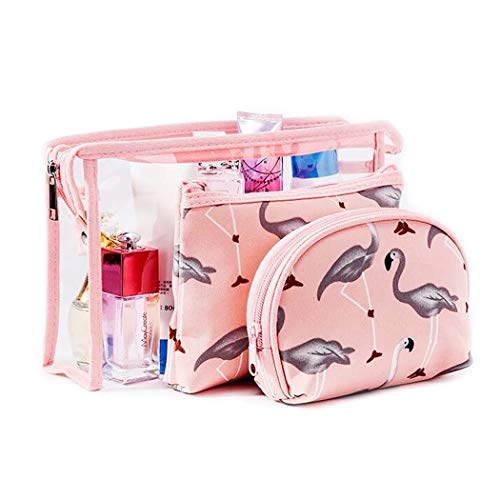 3 Stück Reise Kosmetiktasche für Damen & Mädchen, Groß Transparent PVC Kulturbeutel + Medium Makeup Tasche + Klein Schminktasche, Pink Flamingo