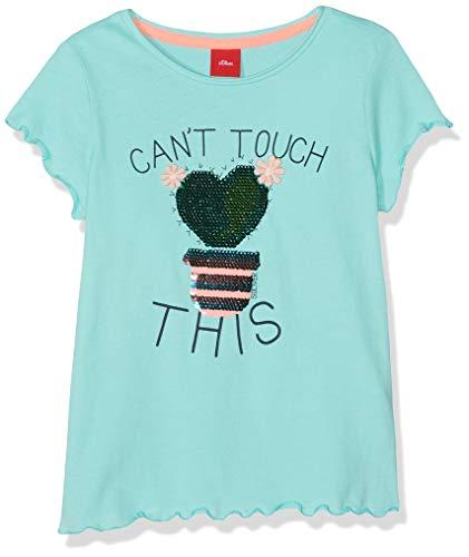 s.Oliver Mädchen 53.904.32.5636 T-Shirt, Türkis (Mint 6117), 128 (Herstellergröße: 128/134/REG) -