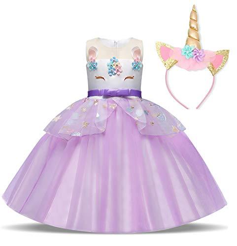 Fantastischen Vier Mädchen Kostüm - TTYAOVO Mädchen Regenbogen Einhorn Phantasie Prinzessin
