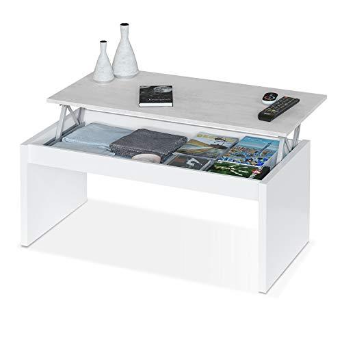 Habitdesign 0L1638A- Mesa de Centro elevable, mesita Mueble Salon Comedor, Medidas: 102 cm (Ancho) x 50 cm (Fondo) x 43/52 cm de (Alto) (Blanco Artik - Cemento)