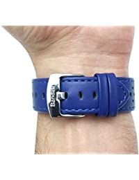 22mm color azul con ventilación Racer piel auténtica correa para reloj banda, con hebilla de acero inoxidable, nuevo.