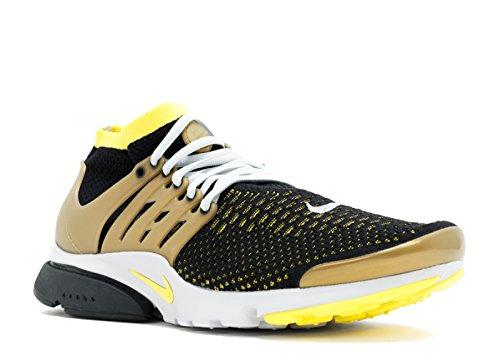 Nike Air Presto Flyknit Ultra, Chaussures de Sport Homme, 41 EU blk, yllw strk-mtllc gld-ntrl g