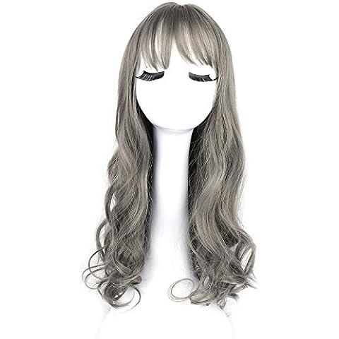 XUAN Pelucas de las señoras flequillo pelo largo hembra aire gris pera