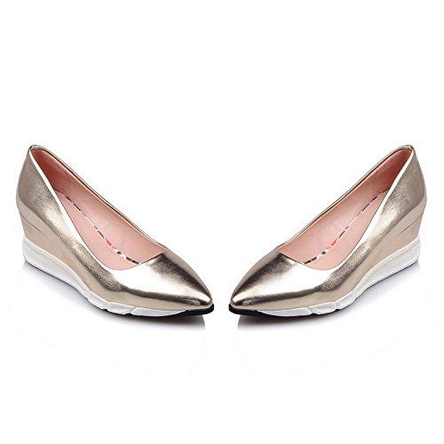 AgooLar Femme à Talon Correct Couleur Unie Tire Matière Souple Pointu Chaussures Légeres Doré