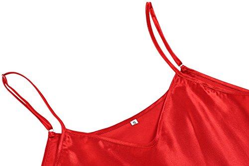 Avidlove Femmes Sexy Nuisette Dentelle Lingerie Satin Babydoll Bretelles Robe de Pyjamas Rouge