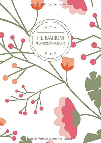 Herbarium Pflanzensammlung: Herbarium Leer A4 - Pflanzen Sammeln, Bestimmen, Aufbewahren - 110 Seiten Papier Weiß - Pflanzenbestimmung - Motiv: Vintage Blumen Muster Natur Bunt