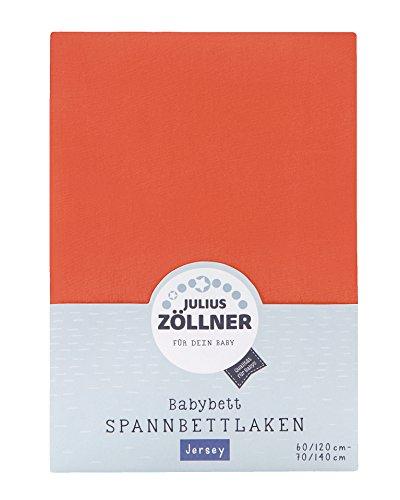 Julius Zöllner 8320147760 - Spannbetttuch Jersey für das Kinderbett, Größe: 60x120 / 70x140 cm, Farbe: koralle