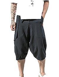 LaoZanA Pantalon Jogger Hombre Pantalones Cortos Pantalones Harem Baggy Anchos Vintage Casual Cintura Elástica Pantalones… LSCo8