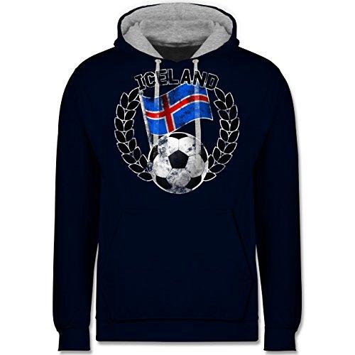 Fußball-WM 2018 - Russland - Iceland Flagge & Fußball Vintage - Kontrast Hoodie Dunkelblau/Grau meliert