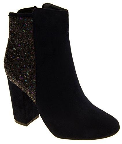 Donna stivali Divina pelle scamosciata del Faux glitter caviglia Blu marino  ...