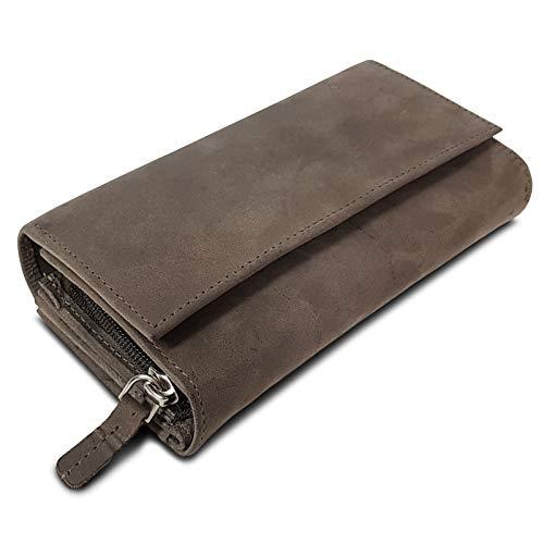 ROYALZ Vintage Leder Geldbörse für Damen Portemonnaie groß mit vielen Fächern RFID-Blocker Brieftasche Querformat, Farbe:Montana...
