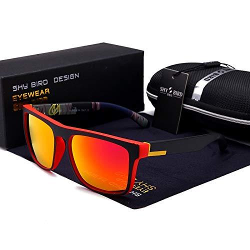 LKVNHP Hohe Qualität Polarisierte Männer Sonnenbrille Aluminium Magnesium Sonnenbrille Fahrbrille Rechteck Shades Für MännerRot Und Orange