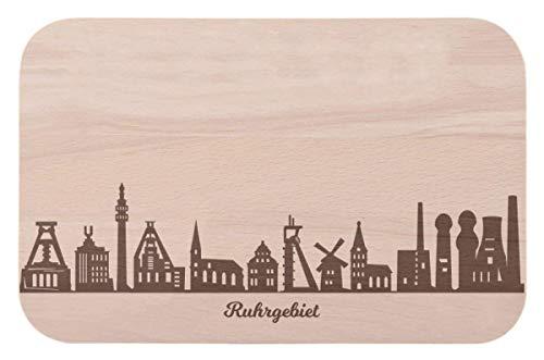 Frühstücksbrettchen Ruhrgebiet mit Skyline Gravur - Brotzeitbrett & Geschenk für Ruhrgebiet Stadtverliebte & Fans - ideal auch als Souvenir