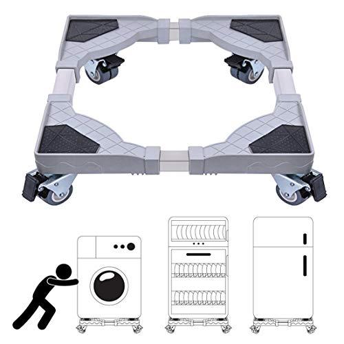 DEWEL Soporte Lavadora Ajustable con 4 Ruedas de 360°sin Ruido Base Frigorífico Antideslizante de Acero Inoxidable Soporta 300kg