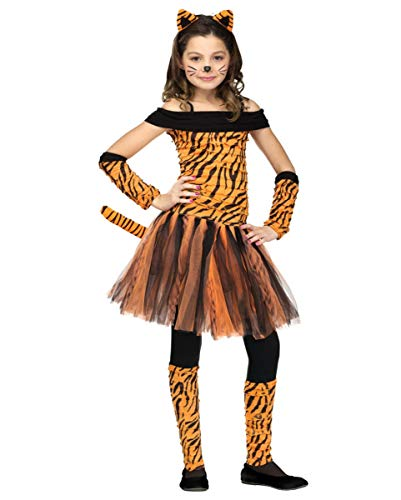 Horror-Shop Tigerin Kinderkostüm - Miss Tigress Mädchenkostüm L
