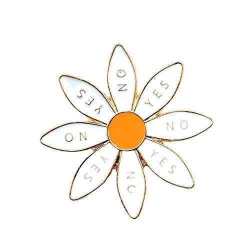 Damen Mädchen Anstecker Blume Chrysantheme Brosche Cartoon Emaille Button Zugehör für Kleider Taschen Weiß