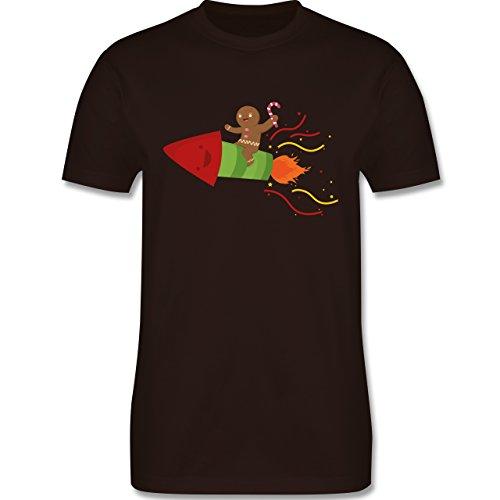 Weihnachten & Silvester - Lebkuchenmann lachend auf Rakete - Herren Premium T-Shirt Braun