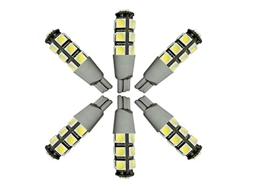 Njytouch 6 pcs Blanc froid 13smd 5050 T10 194 W5 W 192 168 LED WEDGE ampoules de voiture Tail Light DC 12 V
