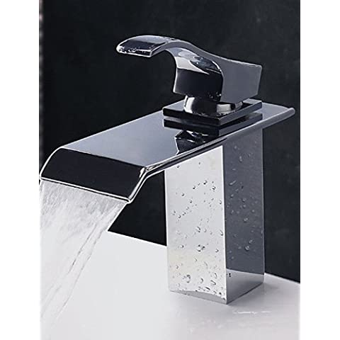 XX&GX Contemporanea Water Fall Acciaio finitura cromata lavandino rubinetto del (Metallo Acciaio Testata)