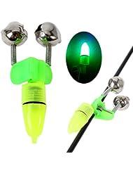 Kiao 10 pcs / lot Anneau de Bell de pêche vert avec clip de lumière à clignotant LED sur Rod Twin Bell Anneau de pêche Bite Alarm Fishing Night Accessory