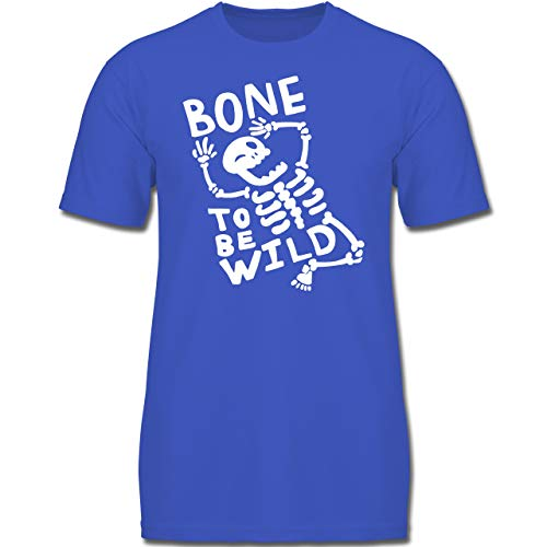 Anlässe Kinder - Bone to me Wild Halloween Kostüm - 128 (7-8 Jahre) - Royalblau - F130K - Jungen Kinder T-Shirt (Verrückte Wilde Kostüm)