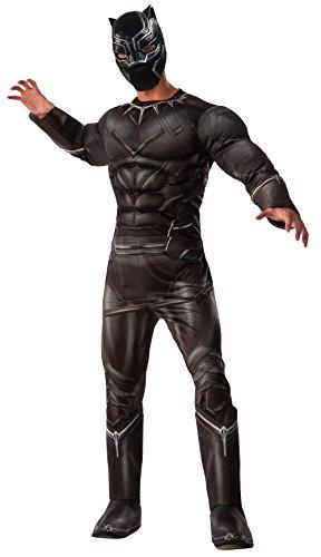"""Rubie's - Costume di Pantera Nera, personaggio del film """"Captain America: Civil War"""", prodotto su licenza ufficiale Marvel, di lusso, misura standard per adulti"""