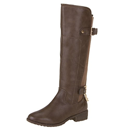 Damen Schuhe, ZH29, STIEFEL Braun Grau