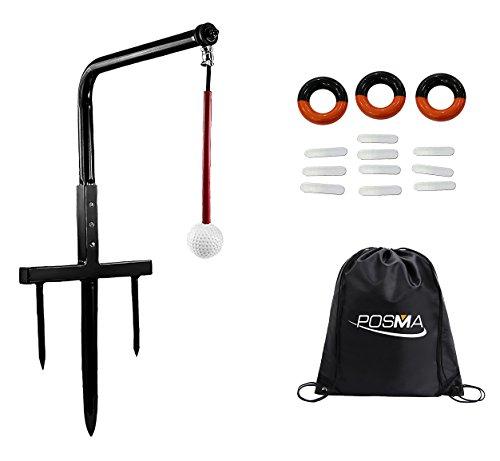 Posma ST080C Metall Golf Swing-Trainer Verein Champ Swing-Groover und Gewicht Power-Swing-Ring rot und schwarz + Bleigewicht Bänder mit Posma Schwarz Cinch Sack Carry-Taschen-Golf-Ausbildungshilfe