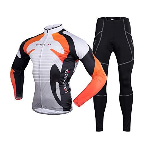 KIKIYA Herren Radsportbekleidung Anzug Winter Thermo Fleece Sportswear Set Langarm Winddicht Jersey Mantel Jacke + 3D Gepolsterte Hose Hose,Orange,XL