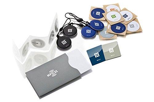 NFC Starterkit Maxi - Inhalt: 20 NFC Tags + NFC Schutzhülle - optimal für Geräte-/ Profilsteuerung ( Wlan, Bluetooth, Apps) - Kompatibel mit allen NFC Smartphones und Tablets
