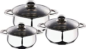 Kaiserhoff Stainless Steel Cookware Set Induction, Set of 6