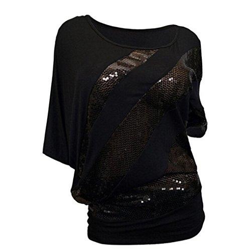 Pailletten Fledermaus Kurzarm T Shirt Frauen Causel Top Kalte Schulter Bluse Plus GrößE (3XL, Schwarz) (Niedliche Halloween T Shirts Für Frauen)