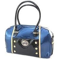 Bolsa de bolos 'Lili Petrol'azul negro barniz - 36x25x15 cm.