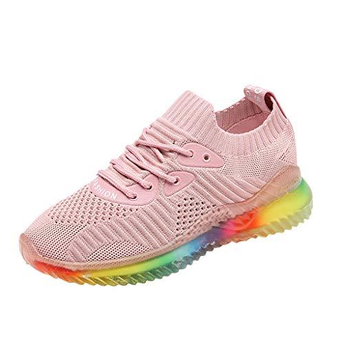 BaZhaHei Sneakers Donna Rainbow Jelly,Moda Scarpe Basse Sportive Donne Respirabile Lace-up Scarpe da Corsa Casual Scarpe da Lavoro Running Fitness Shoes con Sportive All'aperto 35-40