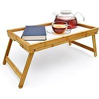 Plateau de petit déjeuner en bambou plateau avec pieds pliables pour le petit déjeuner; lavable; peut également servir comme table pour ordinateur de bureau