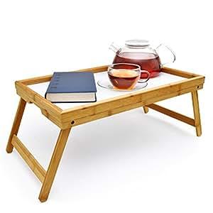 Colazione Vassoio Di Bambù Di Biancheria Da Letto Tavolo con gambe pieghevoli per colazione come un ginocchio tavolo; lavabile; utilizzabile anche come Lapdesk e tavolino per notebook