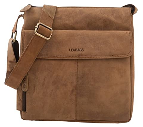 LEABAGS Los Angeles Umhängetasche aus echtem Büffel-Leder im Vintage Look - Braun (Brown Leather Messenger Bag)