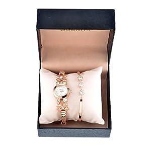 Womens Rose Gold Color Rhinestone Quartz Analog Wrist Watch