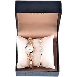 Juego de joyería para mujer con pulsera y reloj analógico de cuarzo para muñeca, color oro rosa