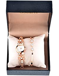 Souarts Womens Rose Gold Color Rhinestone Quartz Analog Wrist Watch Bracelet Jewelry Set