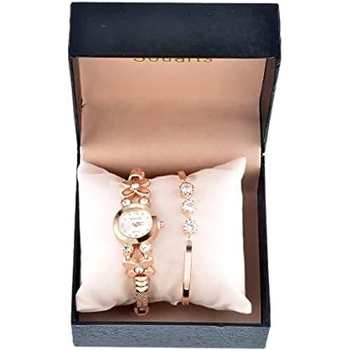 ofertas para el dia de la madre Juego de joyería para mujer con pulsera y reloj analógico de cuarzo para muñeca, color oro rosa, de la marca Souarts